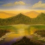 Bass Lake Mountain Landscape By Leonard Parker