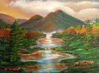 Artist: Leonard Parker - Title: Colorful Mountain Stream Landscape - Medium: Oil Painting - Year: 2016