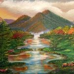 Colorful Mountain Stream Landscape By Leonard Parker