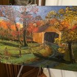 Covered Bridge in Fall By Leonard Parker
