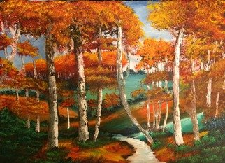 Artist: Leonard Parker - Title: Fall Forest Landscape - Medium: Oil Painting - Year: 2016