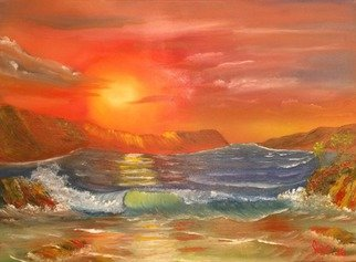Artist: Leonard Parker - Title: Fiery Tropical Cove - Medium: Oil Painting - Year: 2016