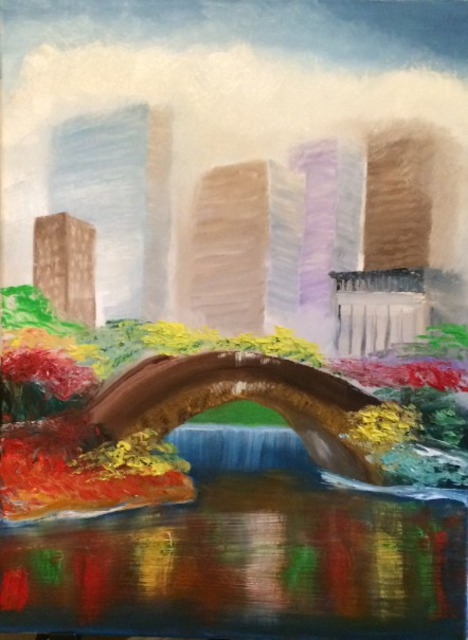 Leonard Parker  'Foggy Central Park NY', created in 2016, Original Painting Oil.