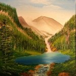 Mountain Falls Lake and Landscape By Leonard Parker