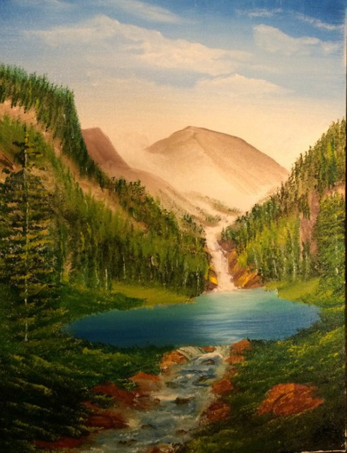 Leonard Parker  'Mountain Falls Lake And Landscape', created in 2016, Original Painting Oil.