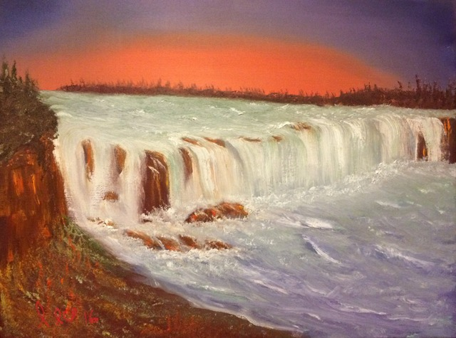 Leonard Parker  'Niagra Falls', created in 2016, Original Painting Oil.