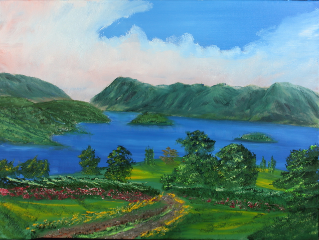 Leonard Parker  'Smith Mountain Lake', created in 2016, Original Painting Oil.