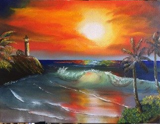 Leonard Parker Artwork Tropical Lighthouse Cove, 2016 Oil Painting, Seascape
