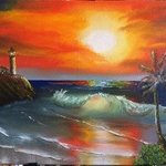 Tropical Lighthouse Cove By Leonard Parker
