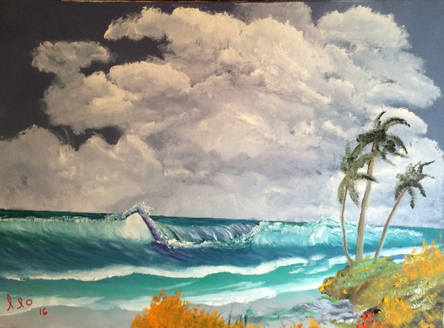 Leonard Parker  'Tropical Windy Day', created in 2016, Original Painting Oil.