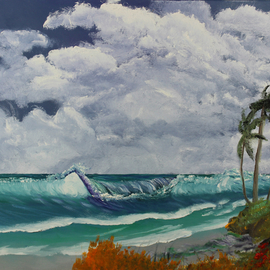 Leonard Parker: 'Tropical Windy Day', 2016 Oil Painting, Landscape. Artist Description:                       southeast, Florida, New Orleans, Texas, Louisiana, Georgia, Mississippi, swamp, Everglades, cypress trees, Spanish moss, swampland, seascape, landscape, cityscape, mountain nscape, scapes, lake scapes, oil painting, tropical, plein air, Hawaii, wave, waves, Carribean islands, tropical islands, ocean, water, New York, Buffalo, waterfall, lake, Leonard Parker, Leonard W. Parker, Dr. ...