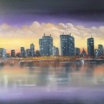 Waterfront Cityscape By Leonard Parker