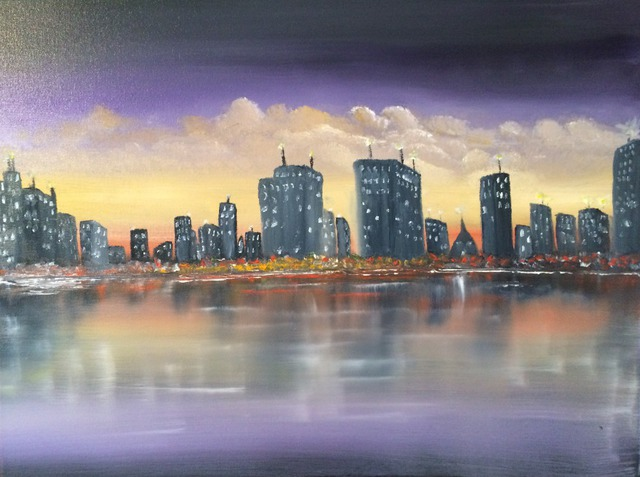 Leonard Parker  'Waterfront Cityscape', created in 2016, Original Painting Oil.