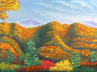 Leonard Parker: 'smoky mountain in the fall', 2016 Oil Painting, Landscape.