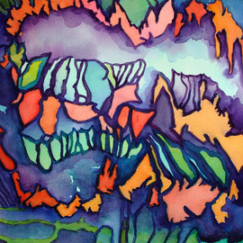 Lynda Lehmann: 'Archipelago', 2005 Other Painting, Abstract. Artist Description: Original watercolor on Arches paper, unframed.  Abstract watercolor has the feel of a chain of rugged and lush tropical islands....