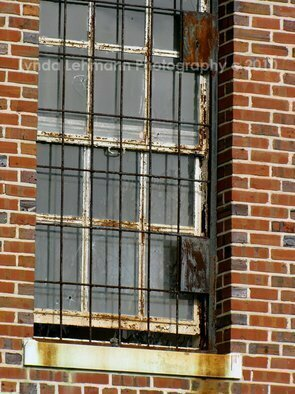 Lynda Lehmann: 'Barred', 2010 Color Photograph, Americana.   Window of an aging and abandoned public institution, with rusted bars and cracked glass, conjures many tales.  Keywords: bars, prison, mental hospital, window, rust, building, landmark, institution, vintage, Americana, brick, architecture, abandoned, moody, scary, architectural elements, old, antique  ...