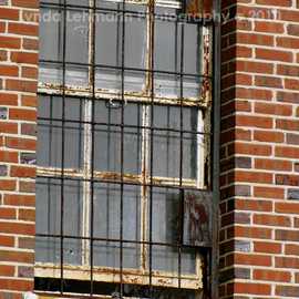 Lynda Lehmann: 'Barred', 2010 Color Photograph, Americana. Artist Description:   Window of an aging and abandoned public institution, with rusted bars and cracked glass, conjures many tales.  Keywords: bars, prison, mental hospital, window, rust, building, landmark, institution, vintage, Americana, brick, architecture, abandoned, moody, scary, architectural elements, old, antique  ...