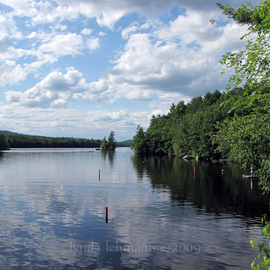 Lynda Lehmann: 'Convergence', 2009 Color Photograph, Landscape. Artist Description:  Clouds reflected on the shimmering surface of a serene Maine lake.  Image c Lynda Lehmann. Archival print 8 x 10 inches, matted to 11 x 14. Please feel free to ask about other sizes. ...