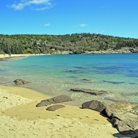 Lynda Lehmann: 'Curve of the Turquoise Cove', 2011 Color Photograph, Landscape. Artist Description:  The exquisite scenic beauty and tranquility of Sand Beach in Acadia National Park on Mount Desert Island.            Keywords: Acadia National Park, Maine, nature, beauty, scenic, landscape, texture, tourism, travel, recreation,  inspiration, hiking, climbing, trail, cove, coast, shoreline, coastal, beach, forest, woods, arbor, trees, family, beautiful, panorama, rocks, boulders, ...