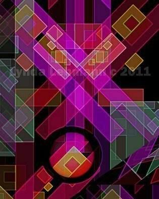 Lynda Lehmann: 'Dimensions 18', 2011 Digital Art, Geometric.  Bright, colorful and bold digital fantasy with strong geometric elements and a lot of energy.fun, art, line, cool, bold, funky, green, zippy, color, weave, happy, unique, bright, strong, orange, active, violet, energy, banded, vibrant, spatial, digital, flowing, fantasy, complex, stripes, musical, optical, magenta, squares, lighting, abstract, powerful, painting, cheerful...