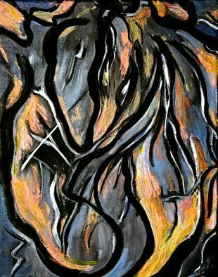 Lynda Lehmann: 'Fire and Stone', 2011 Acrylic Painting, Abstract.     This is an abstract acrylic painting with gestural curves and emotional intensity, which is to me, evocative of elemental forces.  Keywords: fire, stone, flame, organic, curves, abstract, expressionism, sensuous, drama, emotional, moody, elemental, intense, lines, black, white, orange, blue, warm and cool, metaphoric, acrylic, painting, energy, movement, active, gestural         ...