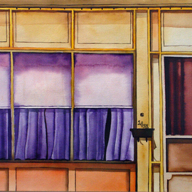 Lynda Lehmann: 'Heat In the Afternoon', 1987 Other Painting, Americana. Artist Description: A row house in Pennsylvania, looking lurid with shades drawn against the glare of a hot summer afternoon.  When I saw it, with those shades and curtains drawn, I imagined something illicit going on inside. I painted this from a b& w photo I took, but the heat ...