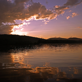Lynda Lehmann: 'Heaven Opens', 2008 Color Photograph, Landscape. Artist Description:  The clouds part, to reveal brilliant light and a stunning sunset on a Maine lake in late summer. Image c Lynda Lehmann.  ...
