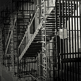 Lynda Lehmann: 'No Escape', 2005 Other Photography, Urban. Artist Description:  I made this abstract from an inverse, high- contrast photo of a fire escape. We had been in NYC and the prevalence of fire escapes made me think about the possibility of people being trapped in all the high- rises in any sort of emergency. Seen from the ...