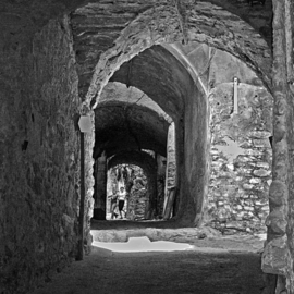 Lynda Lehmann: 'Passages', 2007 Black and White Photograph, Culture. Artist Description:  Arched passageways in what I remember to be Bussana Vecchia, although this might have been in Imperia Vecchia, another medieval city in northern Italy. Image c 2006 Lynda Lehmann.  Price on request. ...