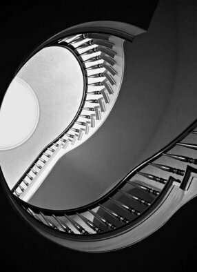 Lynda Lehmann: 'Question', 2005 Black and White Photograph, Architecture.  A spiral staircase, for me, evokes questions about our directions in life.  Image c Lynda Lehmann.  Unmatted archival print, 8 x 11.  ...