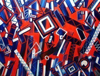 Lynda Lehmann: 'Rhythm in Blues', 2008 Acrylic Painting, Geometric.  Bright, dynamic, geometric abstract in red, white, and blues, 30 x 40 inches on gallery- wrapped canvas. Lively and rhythmic, with a musical feel. Image c Lynda Lehmann. ...