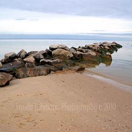 Lynda Lehmann: 'Serenity', 2010 Color Photograph, Scenic. Artist Description:  A jetty jutting into the serene water of Long Island Sound on a calm winter afternoon.Keywords: sky sea rocks water landscape water beach panorama expanse solitude land inspiration shore coastal scenic beauty ...