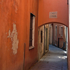 Lynda Lehmann: 'The Alley Before Midday', 2005 Other Photography, World Culture. Artist Description:  An alleyway in Alassio, northern Italy. I love the rustic quality of the ancient walls tinged with sunlight, and the weathered stone.  Matted archival inkjet print in archival sleeve, ready for standard size frame.  Image c Lynda Lehmann....