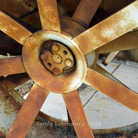 Lynda Lehmann: 'The Great Wheel', 2008 Other Photography, Technology. Artist Description:  A great, old, rusted out tractor wheel in rural Maine: a symbol of a bygone agrarian era and Americana in general. Image c Lynda Lehmann.Matted archival print, ready for framing.  My signature will be on the mat, not on your print.  Please feel free to ask about ...