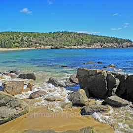 Lynda Lehmann: 'The Tide Among Boulders', 2011 Color Photograph, Landscape. Artist Description:    The exquisite scenic beauty and tranquility of Sand Beach in Acadia National Park on Mount Desert Island.            Keywords: Acadia National Park, Maine, nature, beauty, scenic, landscape, texture, tourism, travel, recreation,  inspiration, hiking, climbing, trail, cove, coast, shoreline, coastal, beach, forest, woods, arbor, trees, family, beautiful, panorama, rocks, boulders, ...