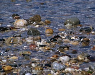 Lynda Lehmann: 'Warm and Cool', 2008 Color Photograph, Representational.  Warm and cool colored pebbles glisten in the shallow water off a Long Island beach. Image c Lynda Lehmann.  My signature will appear on the mat, not on the print. ...