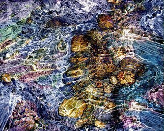 Lynda Lehmann: 'Water Fantasy', 2005 Other Photography, Meditation.  Ribbons of light play over colored stones, in a river in the White Mountains of New Hampshire.  Image c Lynda Lehmann.  Matted size 11 x 14 inches. ...