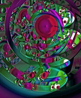 Lynda Lehmann: 'discopolis 3', 2017 Digital Art, Abstract Landscape. This is an intense multicolored abstract with an architectural quality, that might evoke a futuristic or fantasy landscape made of disks, one of a series in different color combinations.  Kids will love this bright image adorning the bedroom or family room wall.  Please feel free to contact me through this ...