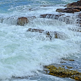 Lynda Lehmann: 'veil of foam', 2018 Digital Photograph, Beauty. Artist Description: This scenic view of the crashing waves and rugged, dramatic Maine coast at Thunder Hole in Acadia National Park, is mesmerizing.  KEYWORDS: acadia, background, beauty, boulders, cliff, coast, coastal, crashing, energy, environment, expanse, flow, hiking, inspiration, landscape, landscape background, leisure, maine, majesty, marine, motion, national park, nature, ocean, ...