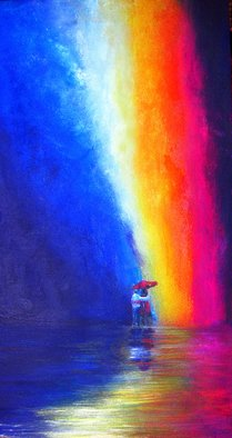 Lyn Deutsch: 'IN RAIN AND IN SUNSHINE', 2011 Acrylic Painting, Love.  love, relationship, marriage, faithfulness, hope, rainbow, red, white, blue, man, woman ...