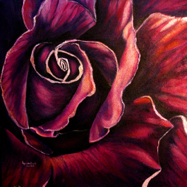 Lyn Deutsch: 'ROSE VIOLET', 2008 Acrylic Painting, Floral. Artist Description:  l men are like grass, and all their glory is like the flowers of the field;    the grass withers and the flowers fall,     but the word of the Lord stands forever.