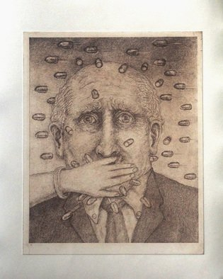 Lynette Vought: 'Hollow Points', 2014 Etching, Figurative.  Bullets, man, words, speech, opinions ...