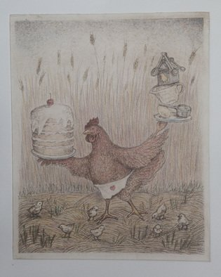 Lynette Vought: 'The Mighty Red Hen', 2015 Etching, Figurative.  Fairy Tale, Feminist, Chicken, chicks, Hay, wheat, cake, baking,  ...