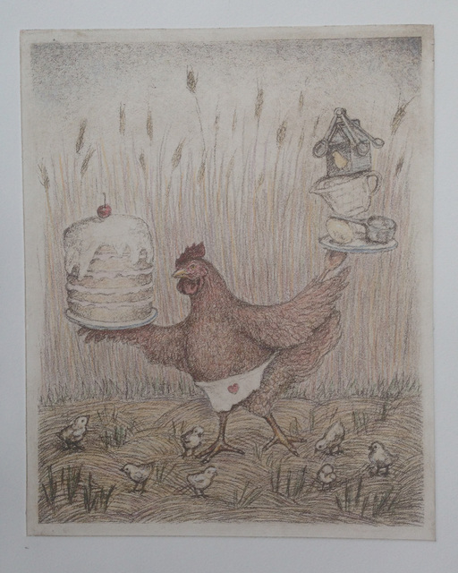 Lynette Vought  'The Mighty Red Hen', created in 2015, Original Drawing Charcoal.