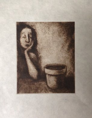Lynette Vought: 'Watched Pot', 2015 Etching, Figurative.    Fairy Tale, Feminist, Starlings, college, university, bar life,   Waiting, plant, empty pot, watching, woman  ...