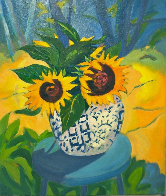 Lynne Friedman  'Sunflowers And Spice Jar', created in 2013, Original Painting Oil.