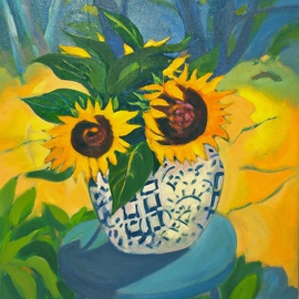 Lynne Friedman: 'Sunflowers and Spice Jar', 2013 Oil Painting, Floral. Artist Description:   flowers, yellow, sunflowers, summer, still life         ...