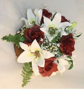 Christie Decker: 'happy 85th birthday dad', 2015 Other, Botanical. Artist Description: 3- D botanical arrangement of roses, lilies, ferns, filler flowers and greens in air- dried clay.  This item is taken, but can be replicated though no two are identical as each is hand sculpted.  ...