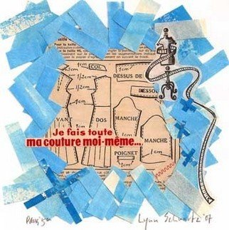 Lynn Schwartz: 'ma couture moi meme ', 2007 Collage, Travel.  Remnants of a rescent sculptural installation and an old French dress pattern give this collage a nice contrast of the old with the new. It's one in  aseries I' ve recently started to depict my life here in France. ...