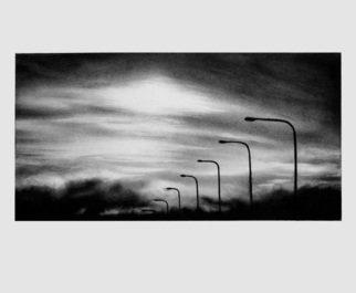 Landscape Charcoal Drawing by Lyudmila Kogan Title: Crossing Over San Mateo Bridge, created in 2008